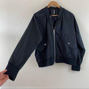 Free People Black Zip Oversized Windbreaker Jacket